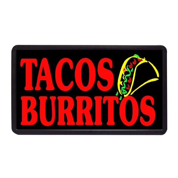 "Tacos Burritos 13"" x 24"" Simulated Neon Sign - Custom Simulated Neon Sign.  13"" x 24"" Ready Made Title Light Box Tacos Burritos"