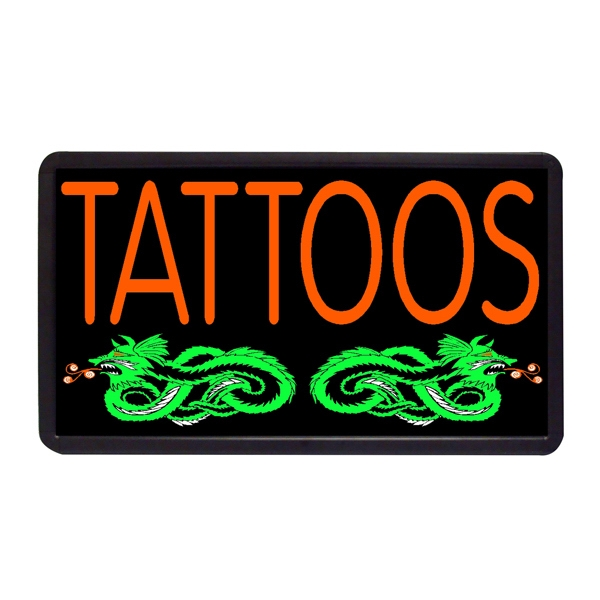 "Tattoos 13"" x 24"" Simulated Neon Sign - Custom Simulated Neon Sign.  13"" x 24"" Ready Made Title Light Box Tattoos"