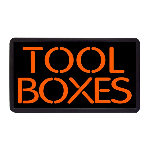 "Tool Boxes 13"" x 24"" Simulated Neon Sign - Custom Simulated Neon Sign.  13"" x 24"" Ready Made Title Light Box Tool Boxes"