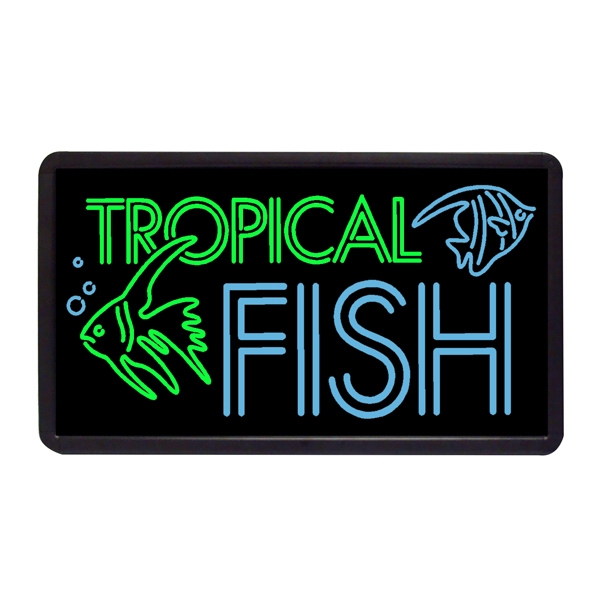 "Tropical Fish 13"" x 24"" Simulated Neon Sign - Custom Simulated Neon Sign.  13"" x 24"" Ready Made Title Light Box Tropical Fish"