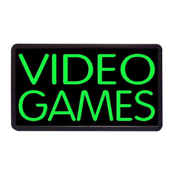 "Video Games 13"" x 24"" Simulated Neon Sign - Custom Simulated Neon Sign.  13"" x 24"" Ready Made Title Light Box Video Games"
