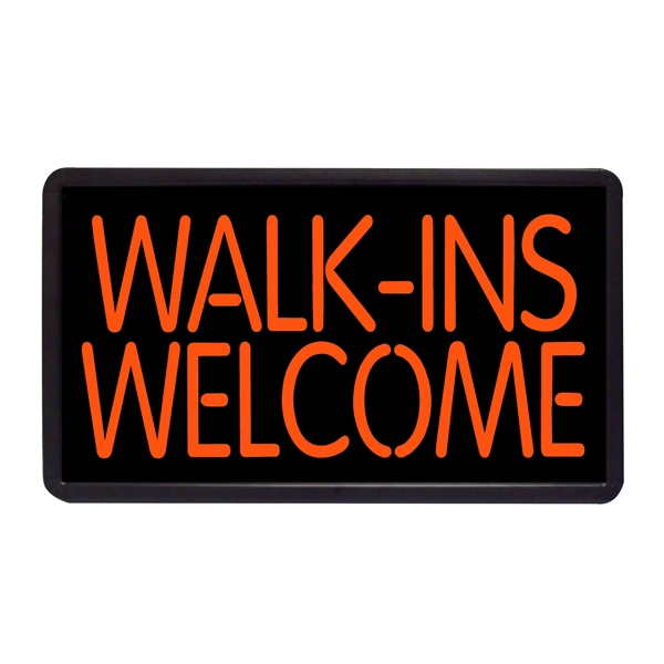 "Walk-Ins Welcome 13"" x 24"" Simulated Neon Sign - Custom Simulated Neon Sign.  13"" x 24"" Ready Made Title Light Box  Walk-Ins Welcome"