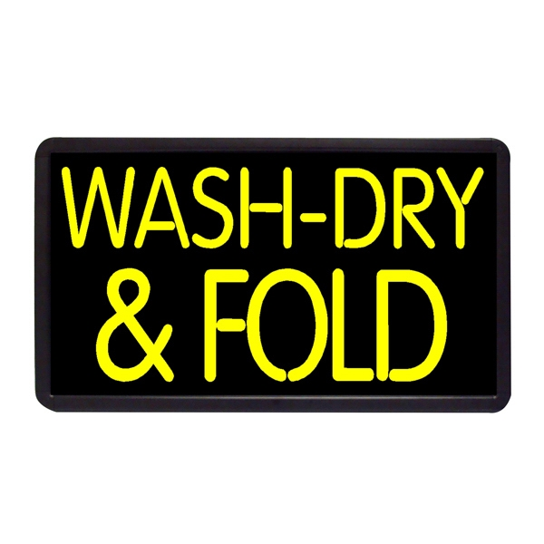 "Wash Dry Fold 13"" x 24"" Simulated Neon Sign - Custom Simulated Neon Sign.  13"" x 24"" Ready Made Title Light Box Wash Dry Fold"