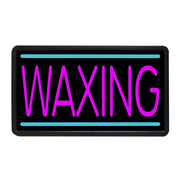 "Waxing 13"" x 24"" Simulated Neon Sign - Custom Simulated Neon Sign.  13"" x 24"" Ready Made Title Light Box Waxing"