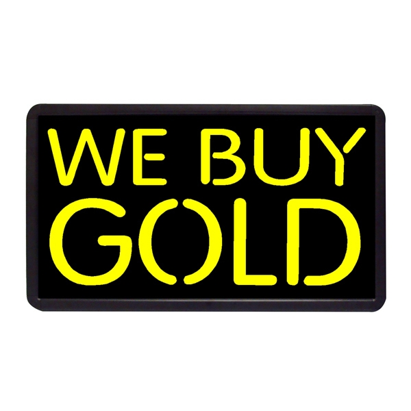 "We Buy Gold 13"" x 24"" Simulated Neon Sign - Custom Simulated Neon Sign. 13"" x 24"" Ready Made Title Light Box We Buy Gold"