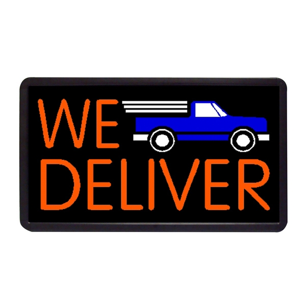 "We Deliver 13"" x 24"" Simulated Neon Sign - Custom Simulated Neon Sign.  13"" x 24"" Ready Made Title Light Box We Deliver"