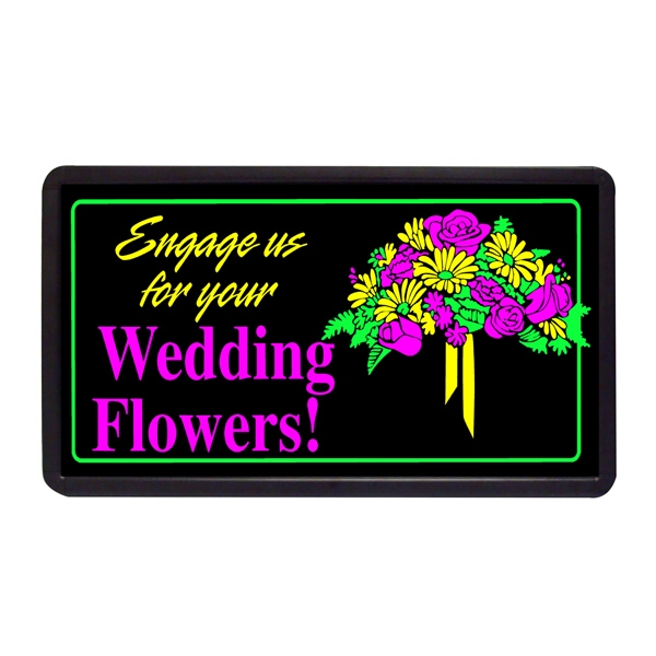 "Wedding Flowers 13"" x 24"" Simulated Neon Sign - Custom Simulated Neon Sign.  13"" x 24"" Ready Made Title Light Box Wedding Flowers"