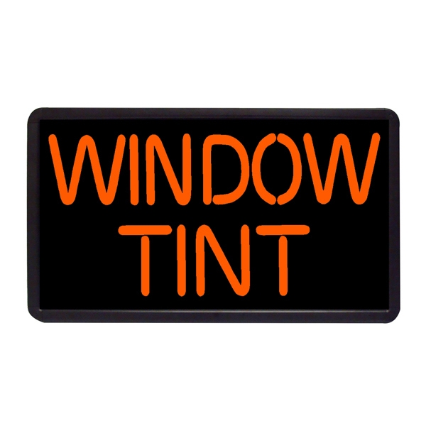 "Window Tint 13"" x 24"" Simulated Neon Sign - Custom Simulated Neon Sign.  13"" x 24"" Ready Made Title Light Box Window Tint"