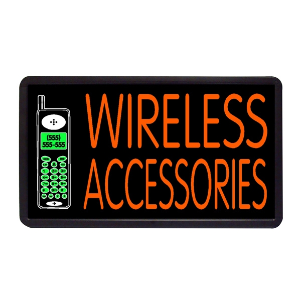"Wireless Accessories 13"" x 24"" Simulated Neon Sign - Custom Simulated Neon Sign.  13"" x 24"" Ready Made Title Light Box  Wireless Accessor"
