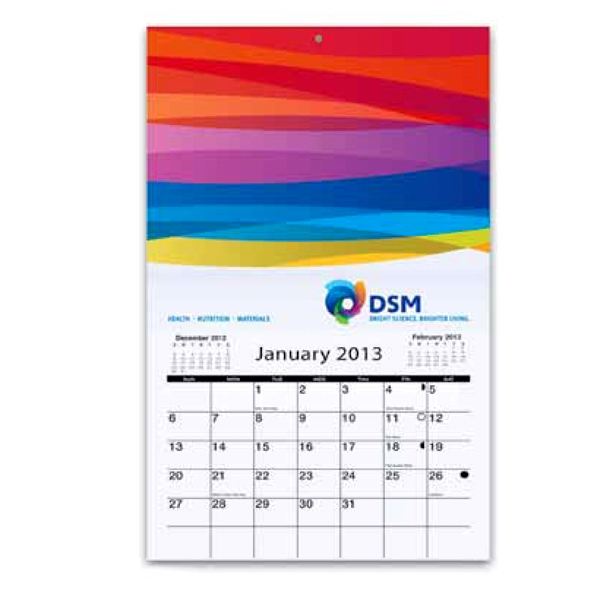 "Mini Wall Calendar With One Stock Photo. Calendar Size Is 6"" X 9 7/8"" Photo"