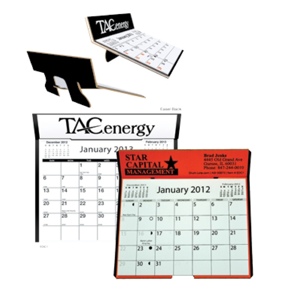 "Die Cut Easel Back Calendar For Table Or Desk. Size Is 6 1/4"" X 6 3/8"" Photo"