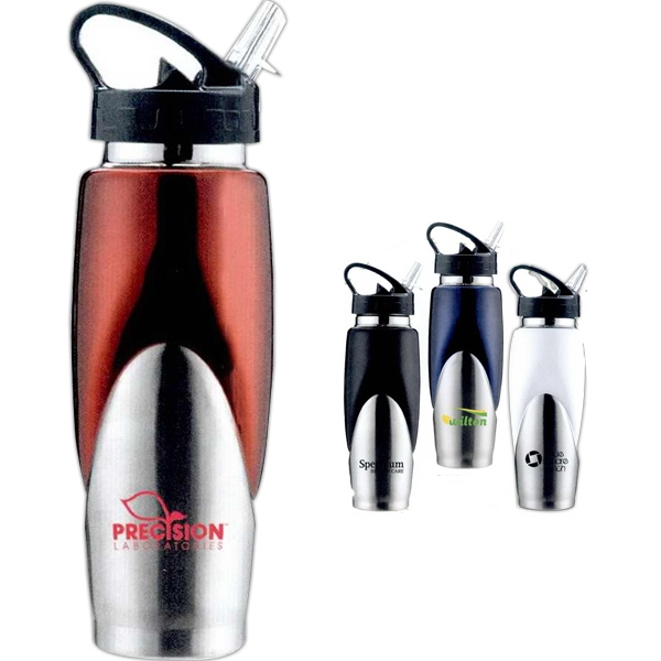 The Splash - Modern Two Tone Stainless Steel Water Bottle With Sport Spout, 24 Oz Photo