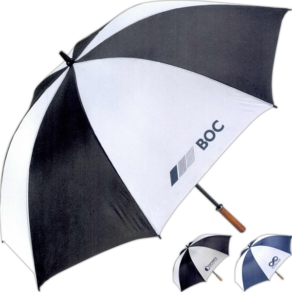 The Value Add - Two Tone Ultra Lightweight Umbrella With A Wooden Handle Photo