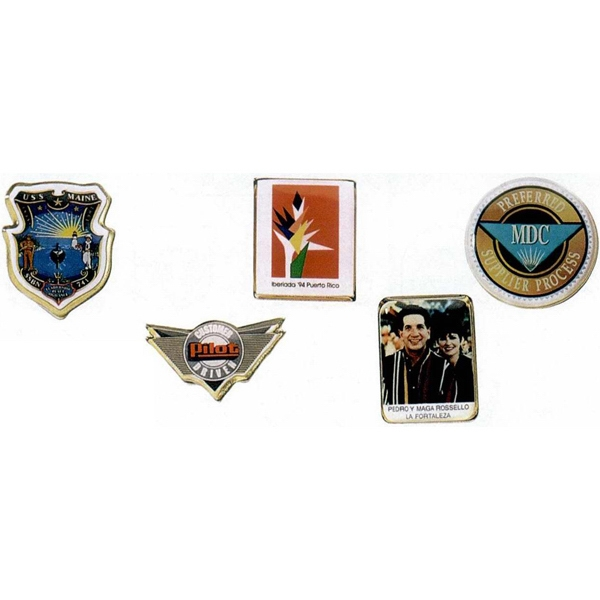 "1 1/4"" - Photoart Lapel Emblem With Photographic Decal With Epoxy Dome And Military Clutch Photo"
