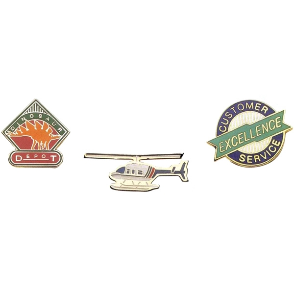 "1"" - Poly Hard Enamel Lapel Emblem With Military Clutch Back And Nail With Burr Photo"