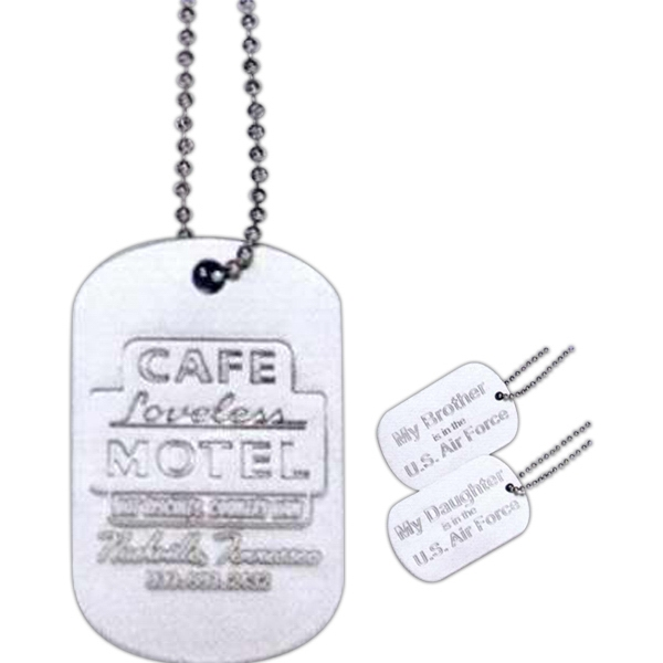 "Embossed Aluminum Dog Tag With 24"" Beaded Chain Photo"