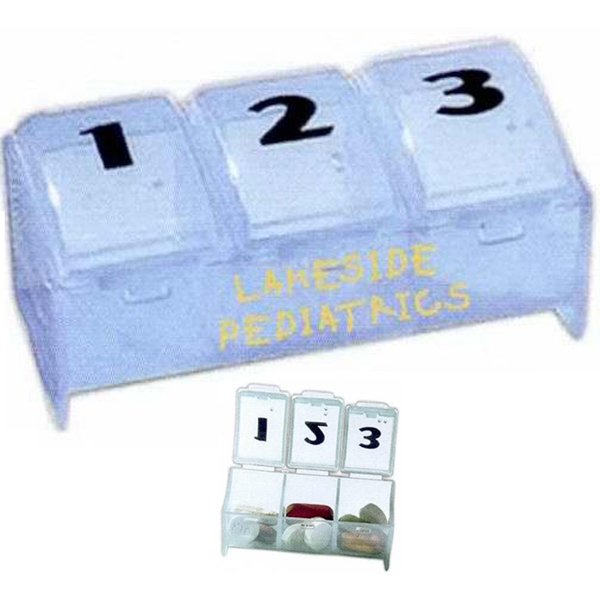 "Custom Imprinted Three Compartment Pill Box - 2 1/2"" X 1 3/8"" X 1"" Photo"