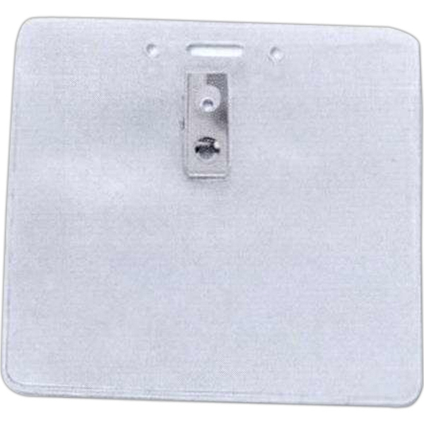 Horizontal Top Load Badge Holder Complete With Two Hole Clip And Slot/chain Holes Photo