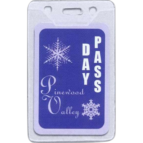 Vertical Clear Vinyl Badge Holder With Slot And Chain Holes Photo