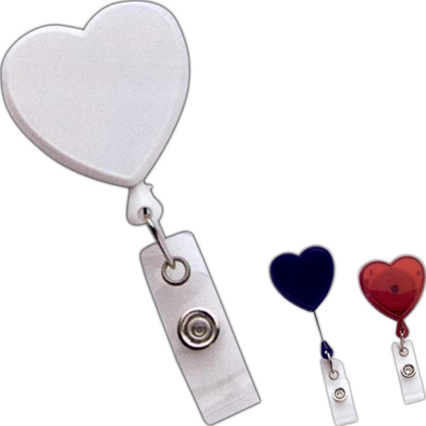 Multi-color-domed Heart Shaped Opaque Plastic Retractable Reel Photo