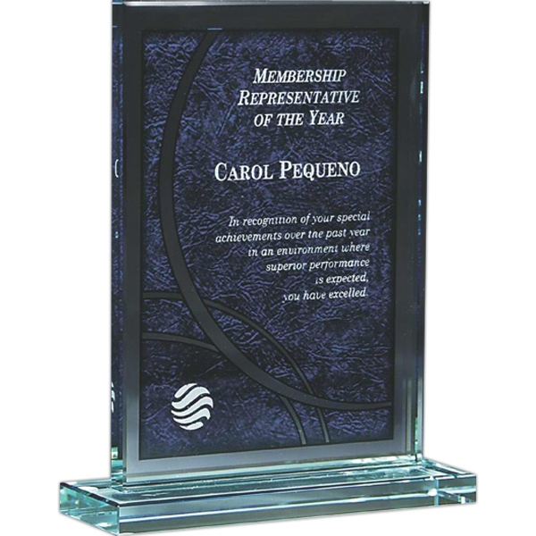 Capaci Collection - Blue Vachetta Imprint On Rectangular Glass Award. Exclusive Design Photo