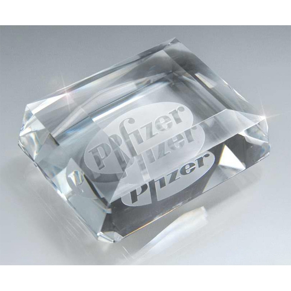 "Prestigious Paperweights - 4"" X 3"" - Optic Crystal Paperweights. New! Photo"