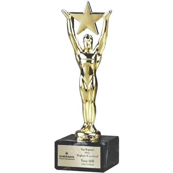 Lustrous Stars - Star Man Trophy On Genuine Italian Marble Base. Lustrous Stars Photo