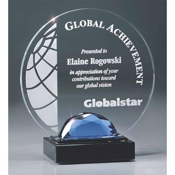"Crystal Gemstone Elegance - 6"" X 6 1/2"" - Award With Glass Gemstone & Marble Base Photo"