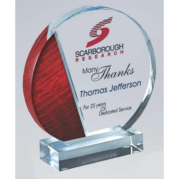 Value Line (tm) - Clear Acrylic Circle Award With Groove On Clear Base Photo