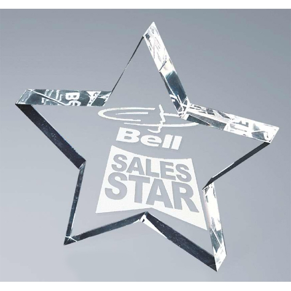 Stock Laser Engraved Paperweights - Digicolor Substitute - Lasered Star Shape Award Photo