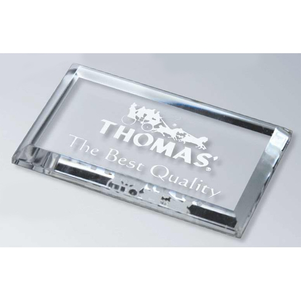 "Stock Laser Engraved Paperweights - Digicolor Substitute - 4"" X 2 1/2"" - Beveled Paperweight. Choice Top Or Thick Beveled Photo"