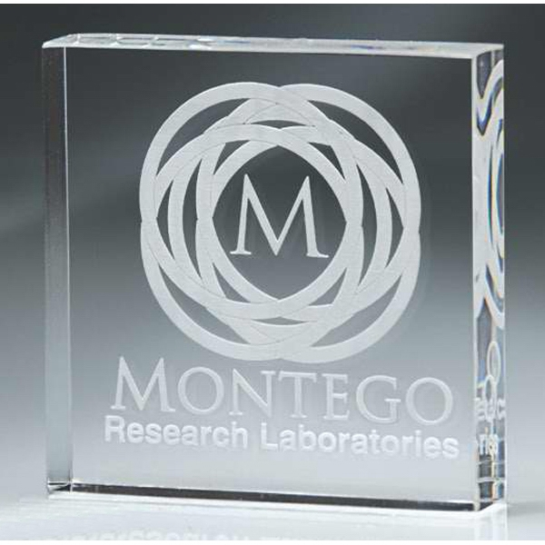 Stock Laser Engraved Paperweights - Digicolor Substitute - Square Block Paperweight. New! Photo