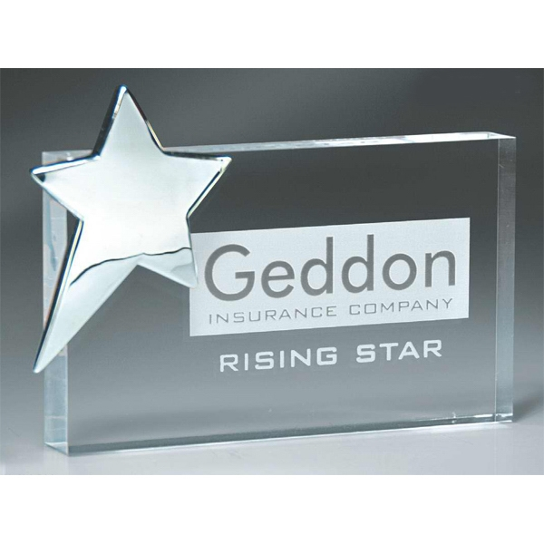 Stock Laser Engraved Paperweights - Personalizations - Rectangle Block With Silver Star Paperweight. Stock Laser-engraved Paperweights. New! Photo