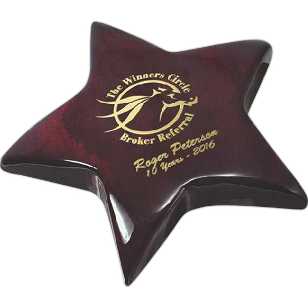 Desk Essentials - Rosewood Piano Wood Paperweight. Includes Gold Color-fill Photo