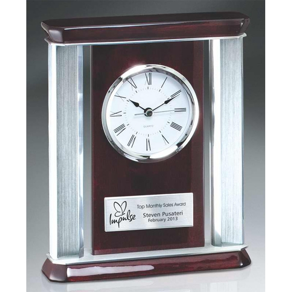 Birmingham Series - Rosewood Piano Wood Desk Clock With Aluminum Accents. New! Photo