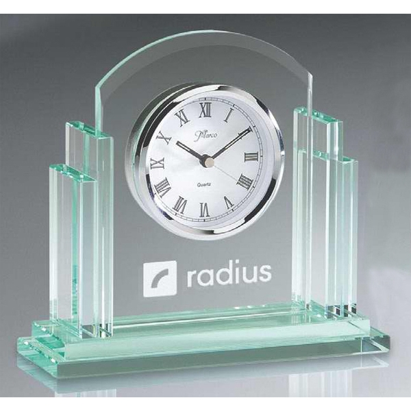 Birmingham Series - Jade Glass Rounded Desk Clock. New! Photo