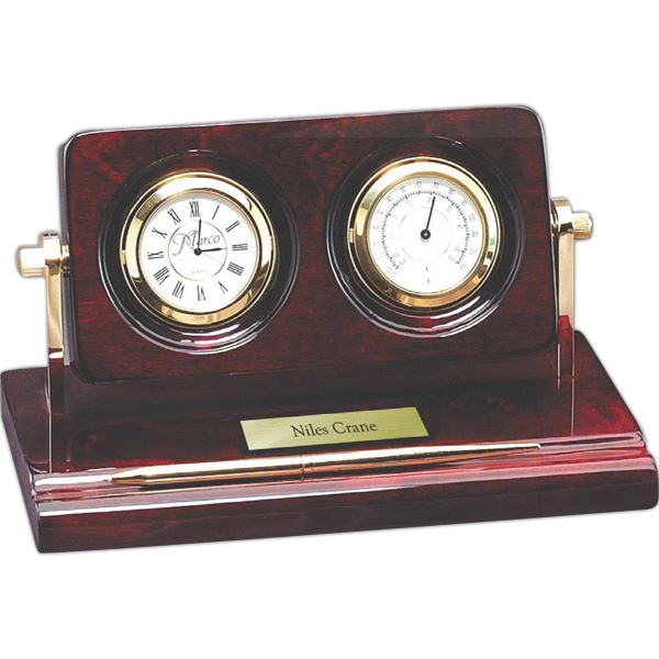 Rosewood Collection - Piano Wood Desk Clock With Thermometer & Pen. New! Photo