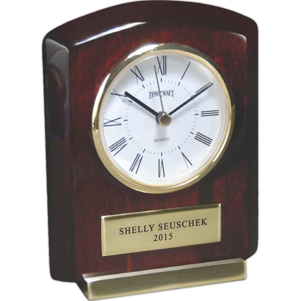 Rosewood Collection - Wood Clock Award. Roman Numeral Clock With Piano Lacquer Finish Photo