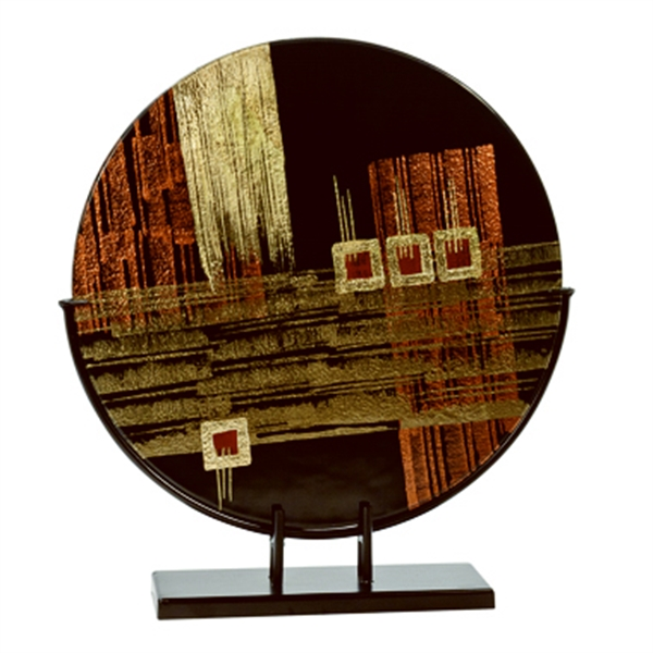 Round Art Glass with Metal Base (Black/Brown Tones)