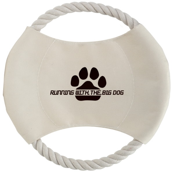 Khaki Dog Disc With Tan Rope Photo
