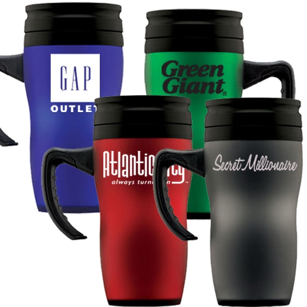Soft Touch 16 Oz. Travel Mug With Thumb Slide Lid. Tumbler Also Available Photo