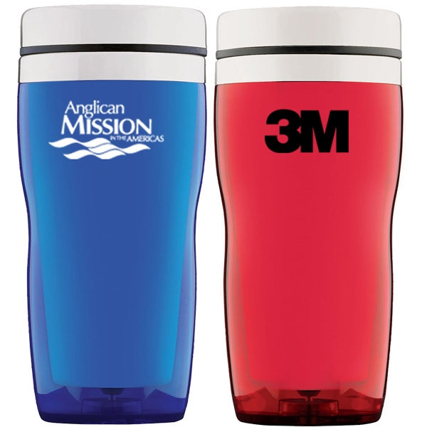 Stainless And Acrylic 16 Oz. Travel Tumbler With Thumb Slide Lid Photo