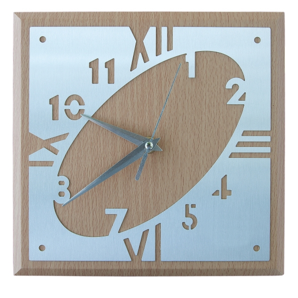 "Wall Clock, Brown Mdf Wood Covered With Aluminum, 8.5"" W X 8.5"" H X 0.25"" D Photo"