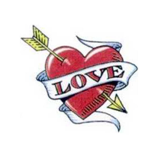 "Temporary Tattoos (tm) - Stock, Non Toxic, Hypoallergenic 2"" X 2"" Valentine Heart With ""love"" Tattoo Photo"
