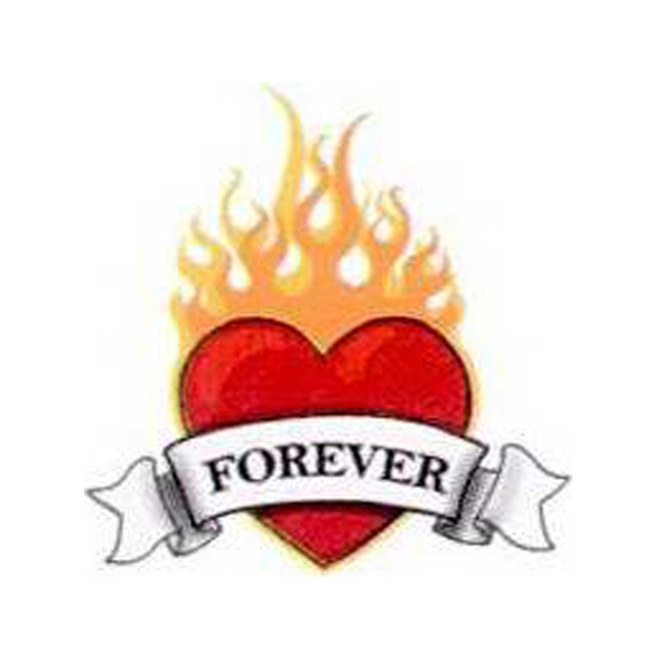 Temporary Tattoos (tm) - Stock, Non Toxic, Hypoallergenic Flaming Heart With Forever Tattoo, Fda Certified Photo