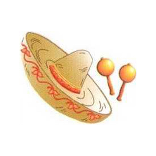 Temporary Tattoos (tm) - Stock, Non Toxic, Hypoallergenic Sombrero With Maracas Tattoo Photo