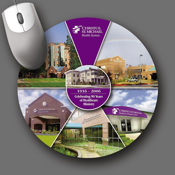 "Peel & Place (r) - 8""dia.x.015""-ultra Thin, Hard Surface Mouse Pad-5-day; Rush: 24 Hour,1,2,or 3-day Photo"
