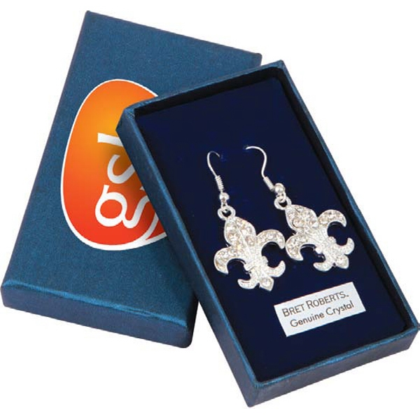 Bret Roberts (tm) Fleur De Lys - Dazzlingly Beautiful Silver Plated Earrings Loaded With Crystal Accents Photo