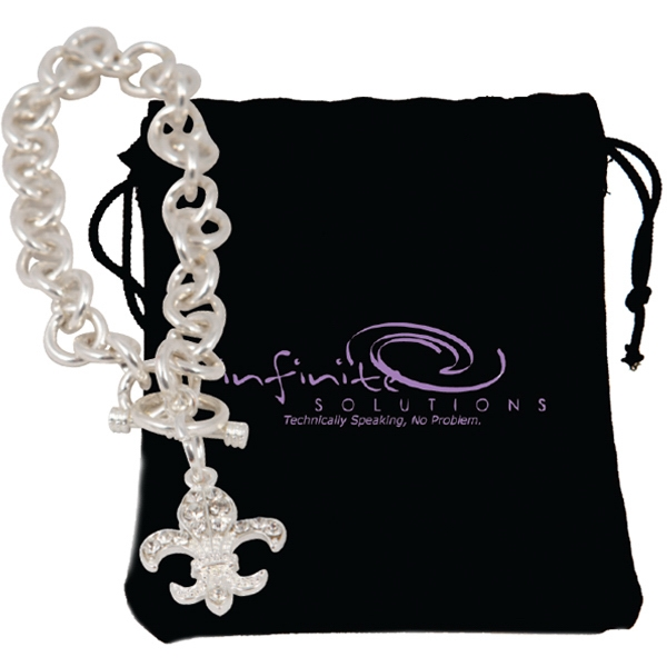 Bret Roberts (tm) Fleur De Lys - Bracelet With Designer Styling, Silver Plated Links And Egyptian-style Toggle Clasp Photo