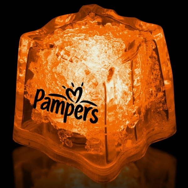 "Orange 1 3/8"" Premium Light-Up Glow Cube"